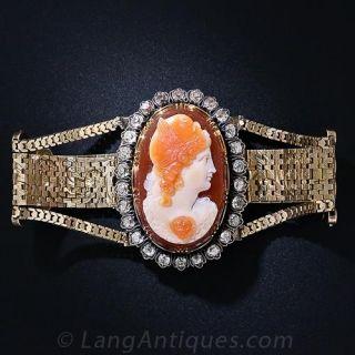 Victorian Hardstone Cameo and Diamond  Bracelet/Brooch - 1