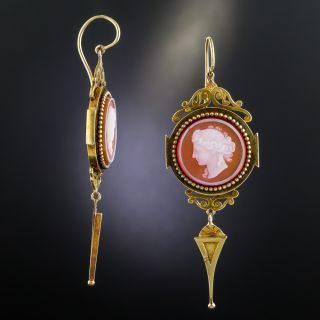 Victorian Hardstone Cameo Long Drop Earrings