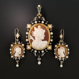Victorian Hardstone Cameo Pendant/Brooch and Earrings Set - 2