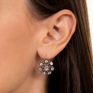 Victorian Large Diamond Cluster Earrings