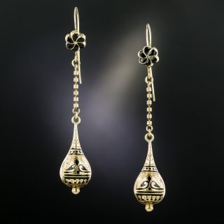 Victorian Long Black Enamel Earrings - 3
