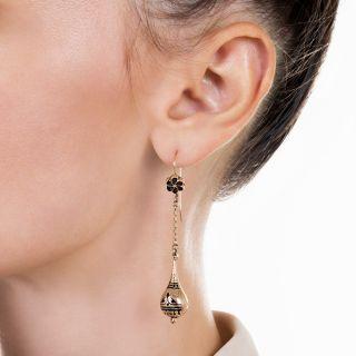 Victorian Long Black Enamel Earrings