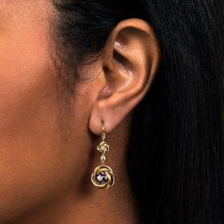 Victorian Love Knot Diamond Drop Earrings