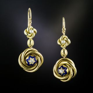Victorian Love Knot Diamond Drop Earrings - 3