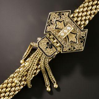 Victorian Mesh Enamel and Pearl Slide Bracelet  - 2