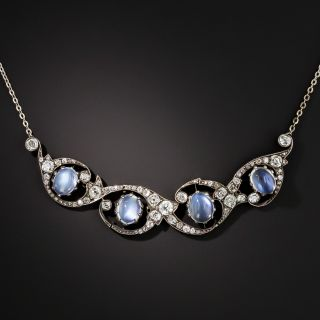 Victorian Moonstone and Diamond Necklace