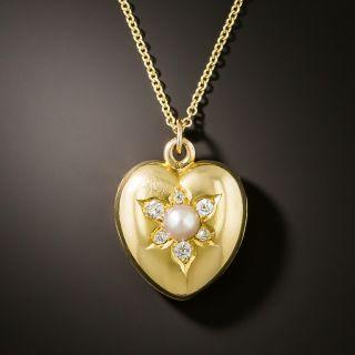 Victorian Natural Pearl and Diamond Heart Locket Pendant - 3