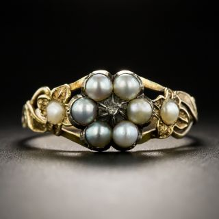 Victorian Natural Pearl and Diamond Locket Ring - 1