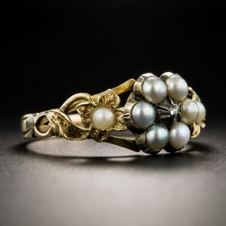 Victorian Natural Pearl and Diamond Locket Ring