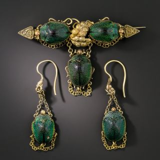 Victorian Natural Scarab Earring and Pin Set - 2
