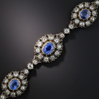 Victorian No-Heat Burma and Ceylon Sapphire and Diamond Bracelet - 1