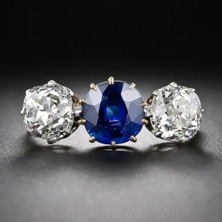 Victorian No-Heat Pailin Sapphire and Diamond Three-Stone Ring - AGL - 1