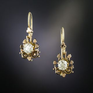 Victorian Old Mine-Cut Diamond Drop Earrings