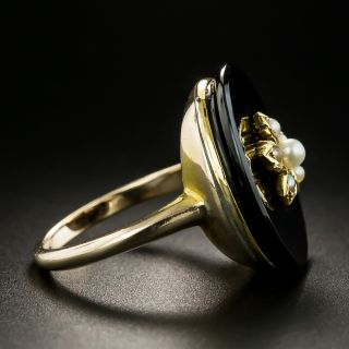 Victorian Onyx and Pearl Ring