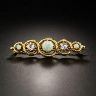 Victorian Opal and Diamond Pin - 2