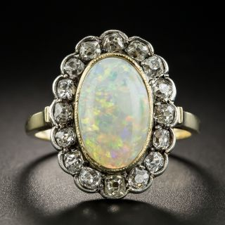 Victorian Opal Cabochon and Diamond Ring - 1
