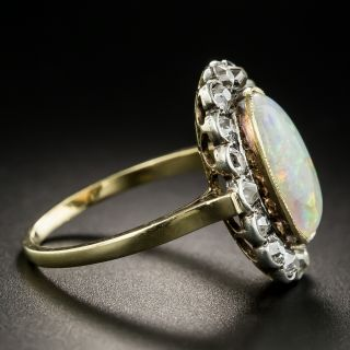 Victorian Opal Cabochon and Diamond Ring