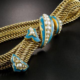 Victorian Pearl and Enamel Slide Bracelet