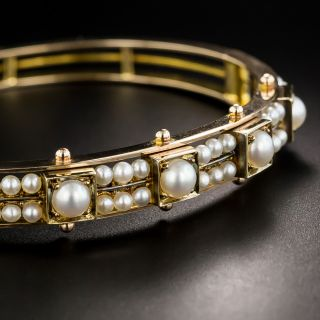 Victorian Pearl Bangle Bracelet - 2