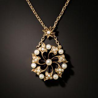 Victorian Pearl Circle Pendant - 3