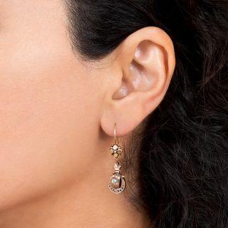 Victorian Petite Gold and Enamel Earrings