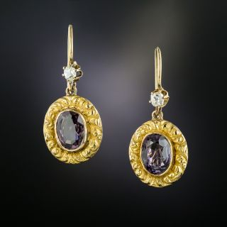 Victorian Purple Spinel and Diamond Earrings