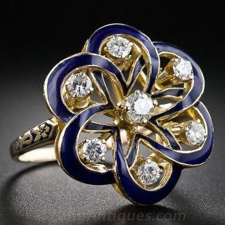 Victorian Retrospective Blue Enamel and Diamond Ring