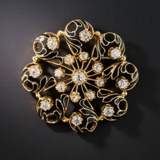 Victorian Retrospective Diamond Black Enamel Brooch - 2