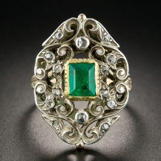 Victorian Revival Emerald Diamond Dinner RIng - 1