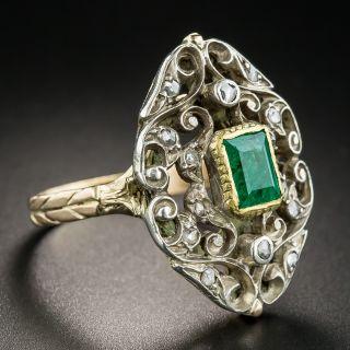 Victorian Revival Emerald Diamond Dinner Ring