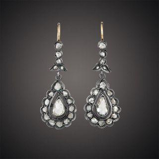 Victorian Rose-Cut Diamond Dangle Earrings - 3