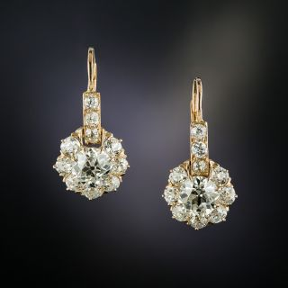 Victorian Rose Gold Diamond Cluster Drop Earrings