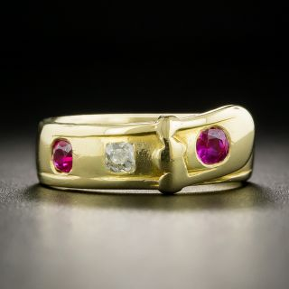 Victorian Ruby and Diamond Buckle Ring - 2