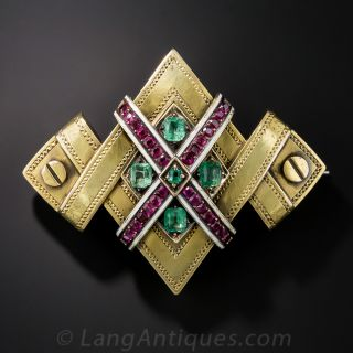 Victorian Ruby and Emerald Pin