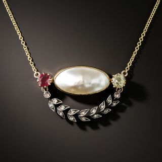 Victorian Ruby, Diamond and Pearl Pendant - 5