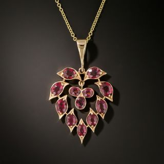 Victorian Ruby Heart Pendant - 2
