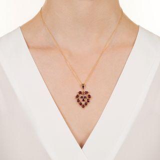 Victorian Ruby Heart Pendant
