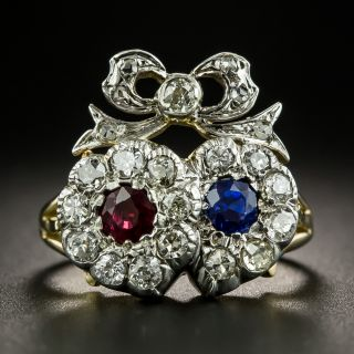 Victorian Sapphire, Ruby and Diamond Lover's Heart Ring - 2
