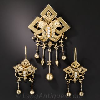 Victorian Seed Pearl and Enamel Brooch and Earrings  - 1