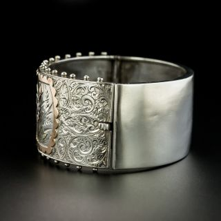 Victorian Silver and Gold Overlay Bangle Bracelet