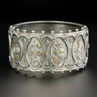 Victorian Silver & Gold Floral Motif Bangle - 2