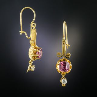 Victorian Spinel and Diamond Drop Earrings - 2