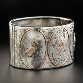 Victorian Sterling Silver Rose Gold Wide Bangle