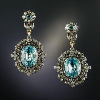 Victorian Style Blue Zircon and Diamond Drop Earrings - 3