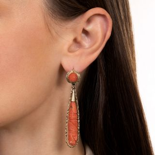 Victorian Style Day and Night Long Coral Drop Earrings