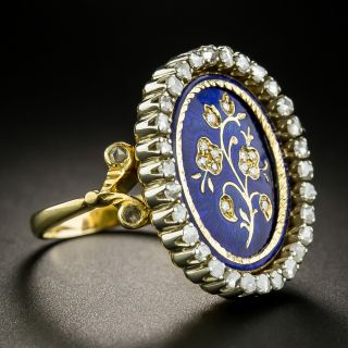 Victorian Style Diamond and Enamel Flower Ring