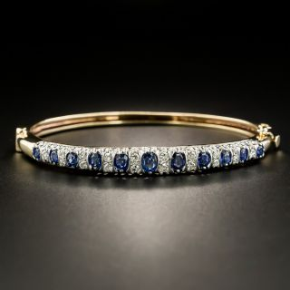 Victorian Style Diamond and Sapphire Hinged Bangle Bracelet - 2