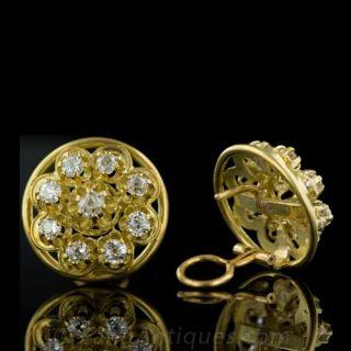 Victorian Style Diamond Cluster Earrings