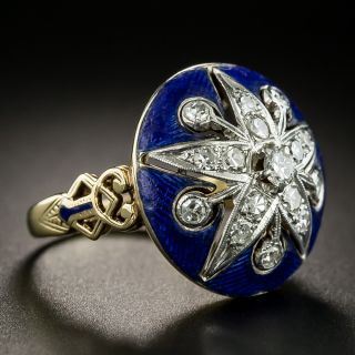 Victorian Style Diamond Enamel Ring by Baskin Brothers