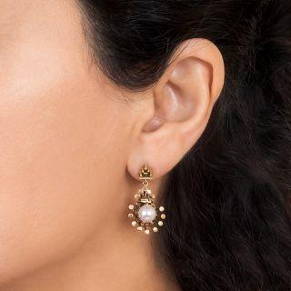 Victorian Style Pearl Drop Earrings